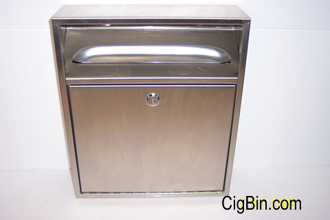 four stainless steel cigarette bins